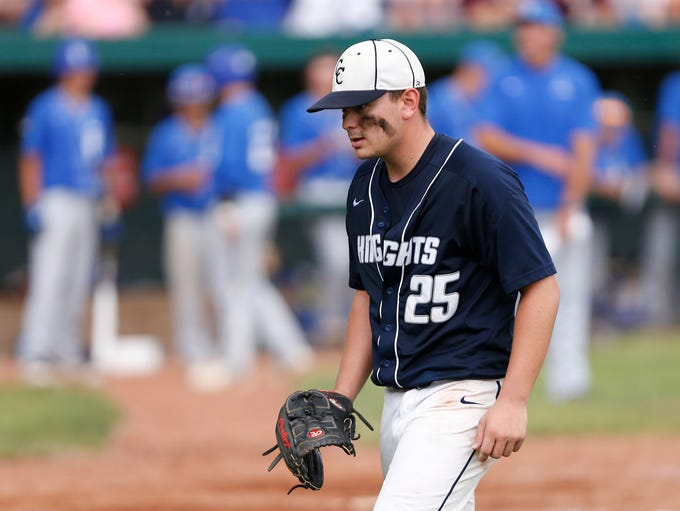Central Catholic starting pitcher Jacob Marin is pulled