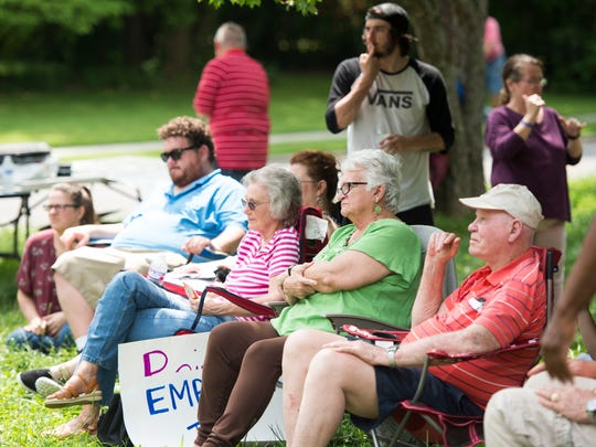 Members of the deaf community participate in a rally held outside of the Tennessee School for the Deaf on Friday, May 4, 2018.