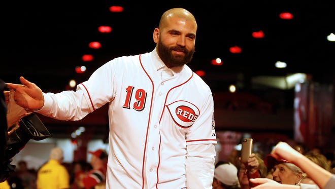 Reds first baseman Joey Votto is introduced at Redsfest on Dec. 4.