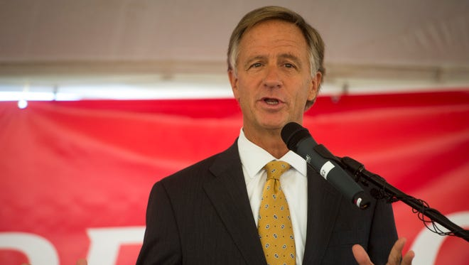 Gov. Bill Haslam speaks after the company DENSO announces expansion plans in Maryville on Friday, Oct. 6, 2017.