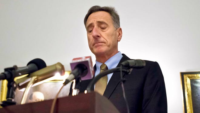 "Gov. Peter Shumlin announces at a news conference at the Statehouse in Montpelier last week that ""the time is not right"" for single-payer health care in Vermont."