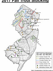 Map shows Fall 2017 trout stocking locations.
