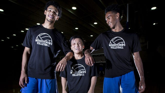 Mesquite High School boys volleyball player Brandon Kwan stands with teammates on Wednesday, April 11, 2018 in Gilbert, Arizona.
