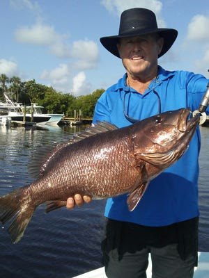 Capt. Steve Lake, a bass fishing guide from Roland Martin's Marina in Clewiston, exchanged spinnerbaits for a snapper bite Thursday while fishing with Capt. Mark Dravo of Y-B Normal charters in Fort Pierce.