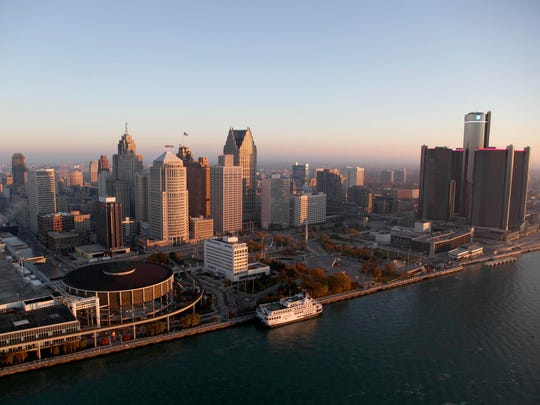 The skyline of downtown Detroit at dawn.