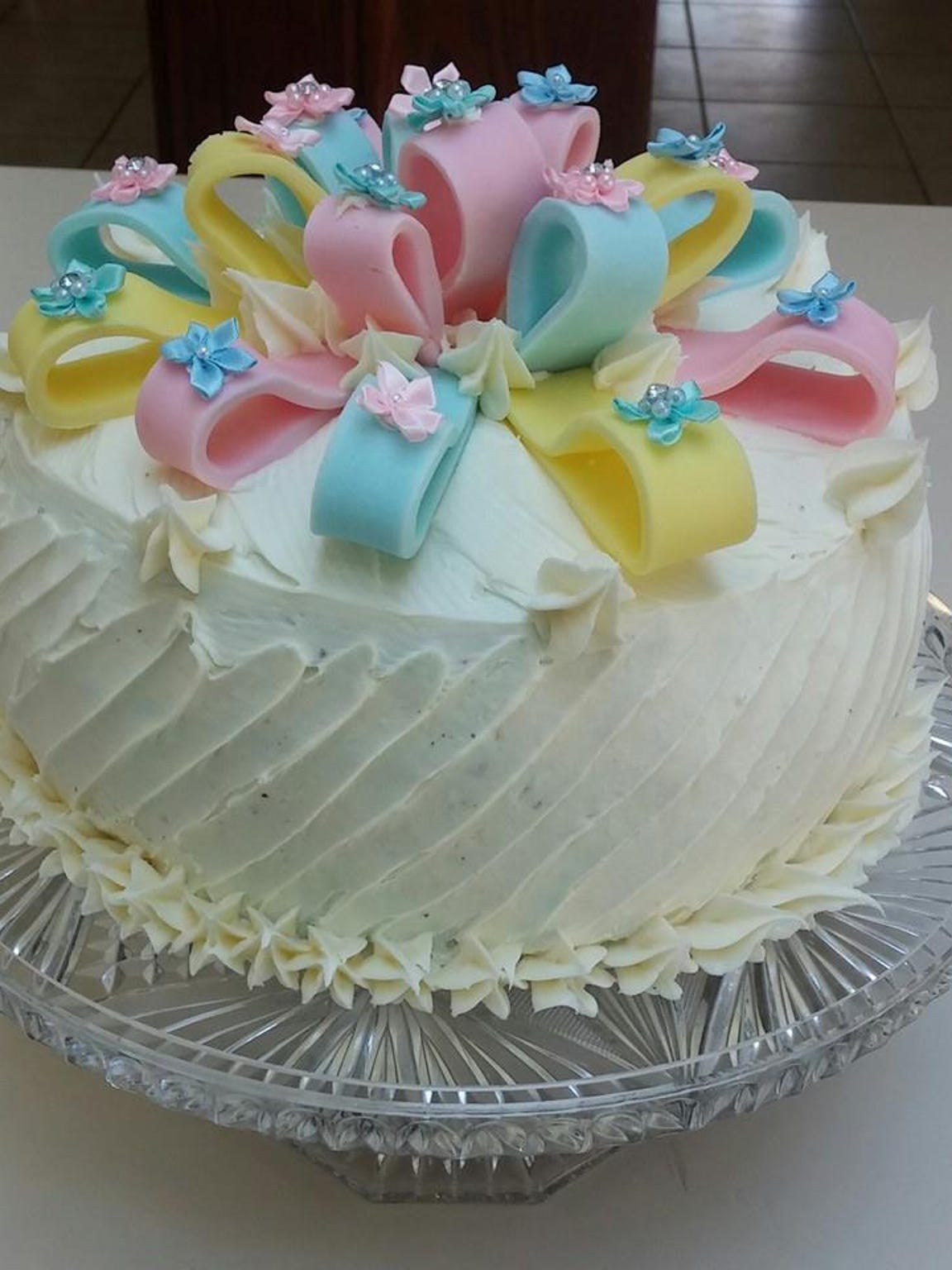 Stephanie baked this cake for her baby's gender-reveal