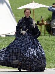 Rebecca Benigni of Newburgh wears a Civil War-era dress