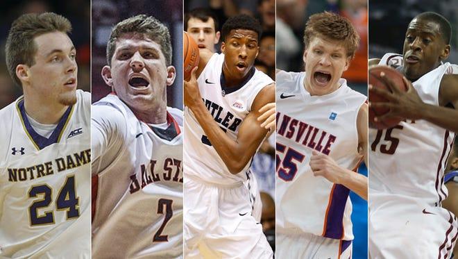 Pat Connaughton, Notre Dame (from left); Ball State's Matt Kamieniecki; Butler's Kameron Woods; Evansville's Egidijus Mockevicius; IUPUI's DavRon Williams.