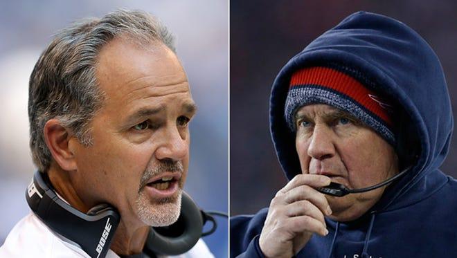 Colts coach Chuck Pagano (left) and Patriots  coach Bill Belichick