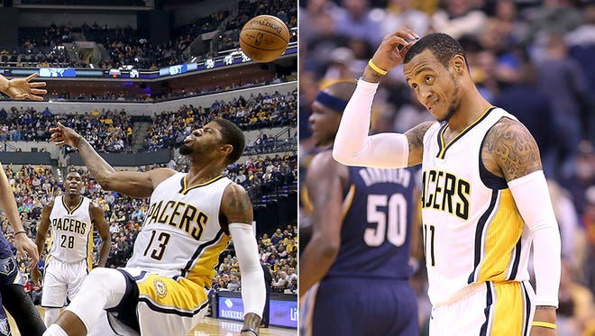 Paul George (left) and Monta Ellis have combined to shoot 15-for-55 over the first two games of the season for the Pacers.