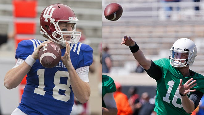 Danny Cameron (left) and Richard Lagow are competing to be Indiana's quarterback in 2016.