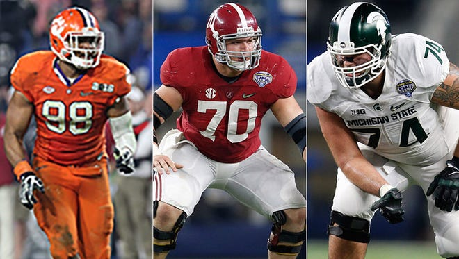 From left to right: Clemson linebacker Kevin Dodd; Alabama center Ryan Kelly; and Michigan State tackle Jack Conklin.