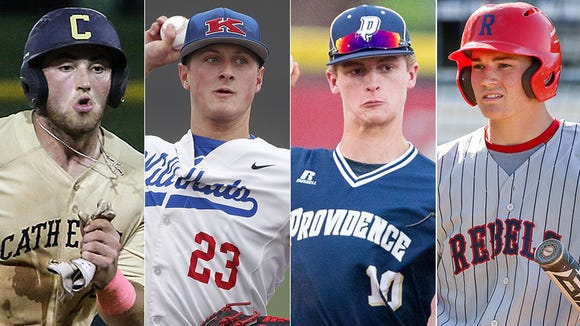 Left to right: Cathedral's Jared Poland, Kokomo's Jack Perkins, Providence's Timmy Borden and Roncalli's Nick Schnell.