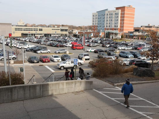 A view of the Cross County Shopping Center from the