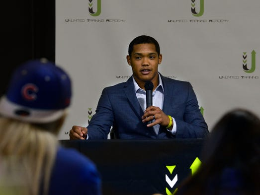 Addison Russell of the Chicago Cubs answers questions