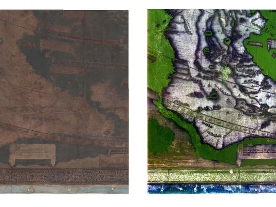 Photos of southern Africa on Martellus map before (left) and after imaging science techniques applied.