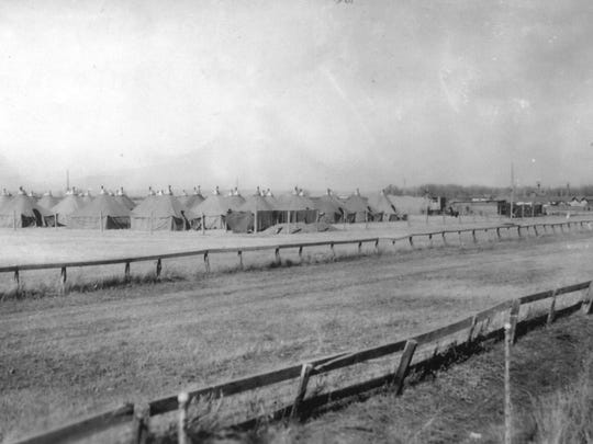 "German POW camp, named ""Tent City,"" at Chinook fairgrounds."