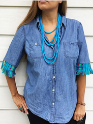 An upcycled blouse created by Leah Golden, owner of