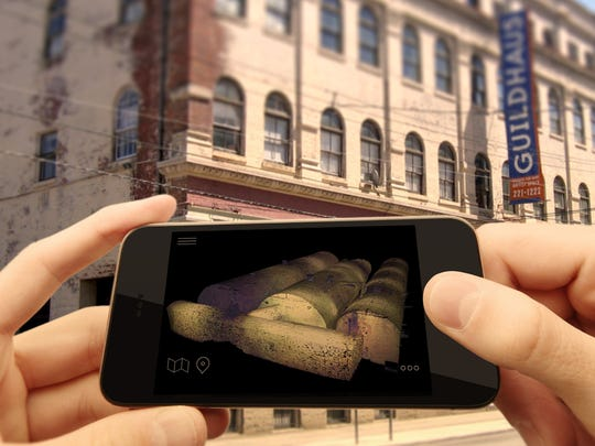 A mock-up of the interactive app feature that would let visitors see the cellar below the Kauffman Brewery building, 1622 Vine St.
