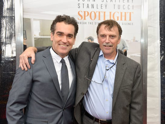Actor Brian d'Arcy James, left, and Boston Globe Spotlight