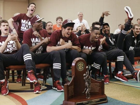 Texas A&M players watch their selection in the NCAA Tournament on Sunday, March 13, 2016, in Nashville. The SEC-champion Aggies were selected as the third seed in the West Region.