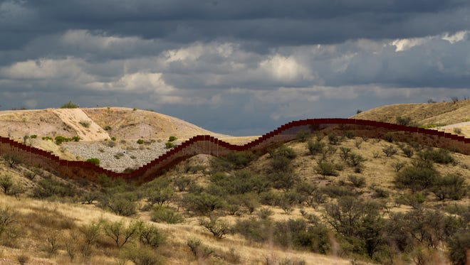 Portion of a fence along the U.S.-Mexico border.