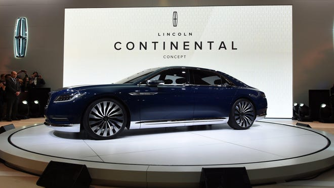 The Lincoln Continental Concept car is introduced during the first press preview day at the 2015 New York Auto Show April 1 in New York. It will be built in Flat Rock, Ford confirmed Wednesday. The Flat Rock plant makes the Ford Mustang as well as the Ford Fusion.