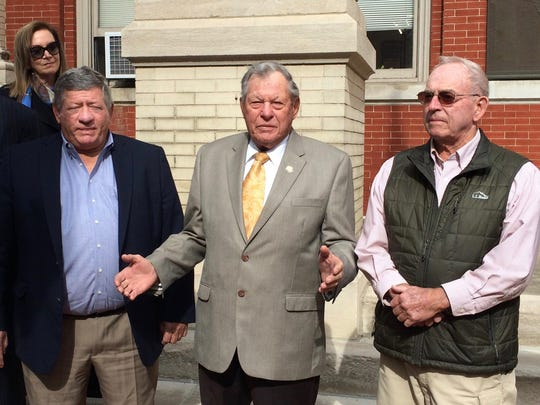 Former State Senator Frank Nolen, flanked by Tom Sheets (left) and Stuart Moffett, condemns tactics taken by some of the Augusta County Board of Supervisors regarding the November 8 courthouse referendum at a press conference on the steps of the current Augusta County Courthouse in Staunton, Va., on Tuesday, November 1, 2016.