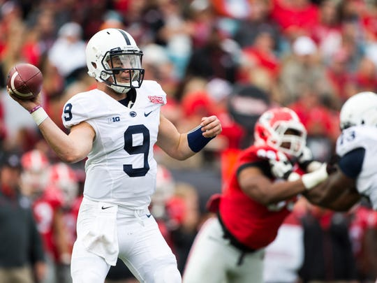 Trace McSorley (9) will be a different kind of quarterback than you're used to seeing at Penn State. He's shorter but has excellent speed.