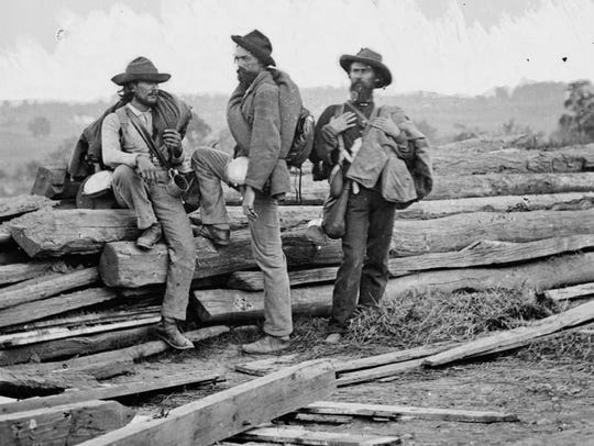 This famous photograph depicting three Confederate