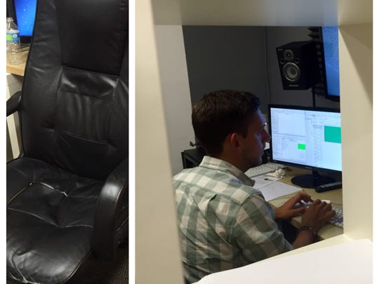 Tyler Hromadka is singled out as he alone stands between rendering, the final phase where all edits are combined into one file.  Tyler needs to finish before the end of the hour to make the 48 Hour Film Project deadline.