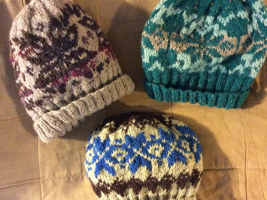 "These Fair Isle Hats are based on the ""Alex's favorite beanie"" pattern on our website."