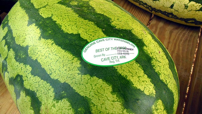 When you're looking for a genuine Cave City watermelon, always look for the registered trademark sticker.