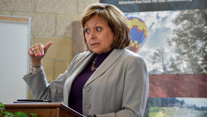 New Mexico Gov. Susana Martinez speaks to third-graders at Hubert Humphrey Elementary in Albuquerque about a new summer reading challenge on Monday, May 9, 2016.