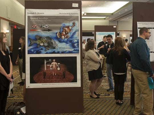 Rowan University science students display Friday their research in engineering, technology and medicine.