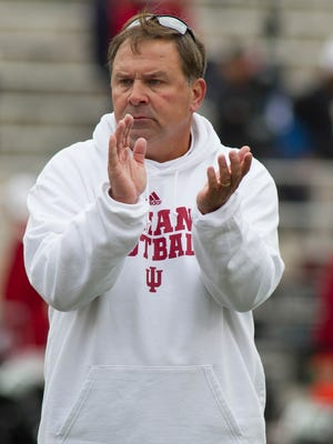 Nov 8, 2014; Bloomington, IN, USA; Indiana Hoosiers head coach Kevin Wilson on the field before the game against the Penn State Nittany Lions at Memorial Stadium. Penn State Nittany Lions beat the Indiana Hoosiers by the score of 13-7. Mandatory Credit: Trevor Ruszkowski-USA TODAY Sports