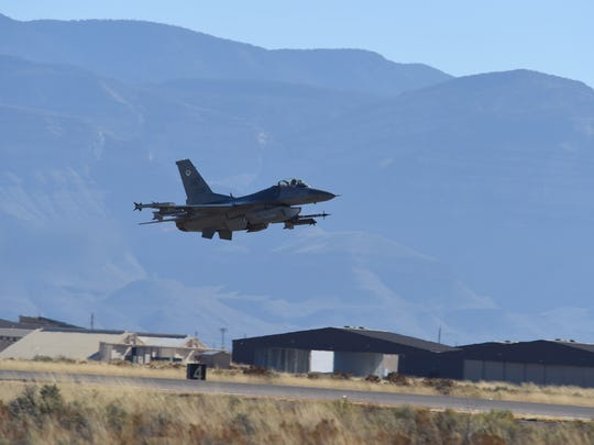 An F-16 Fighting Falcon from the 8th Fighter Squadron takes off at Holloman Air Force Base Nov. 27, 2017.