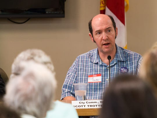 Scott Trotter speaks at a candidate forum hosted by Women for Responsible Legislation at Pensacola City Hall on Thursday, March 22, 2018.
