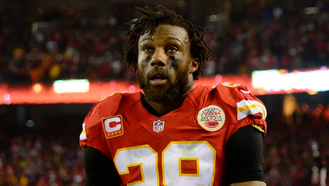 Kansas City Chiefs strong safety Eric Berry (29) reacts on the sideline during the fourth quarter in the AFC Divisional playoff game against the Pittsburgh Steelers at Arrowhead Stadium.