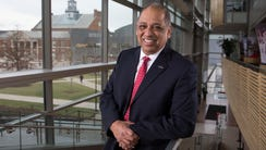Neville Pinto, UC's 30th President in University Pavilion.