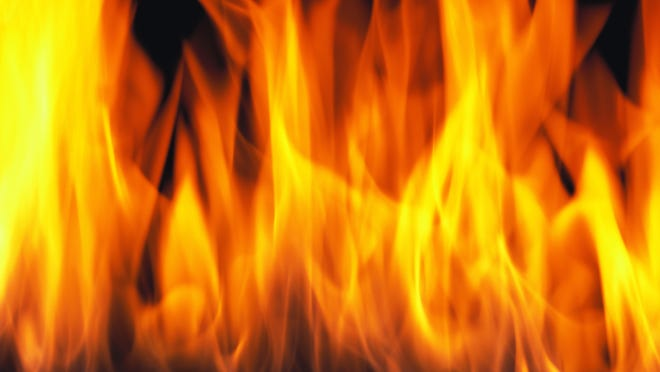 Close-up of flames from a fire rising