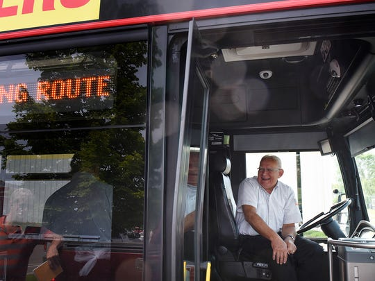 Dale Mossey smiles after completing a training run Wednesday, June 8, at Metro Bus Operations Center in St. Cloud.