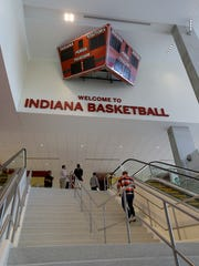 The old Assembly Hall scoreboard is now part of the decor in the South Pavilion.