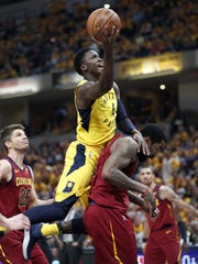 Indiana Pacers guard Victor Oladipo (4) is fouled by