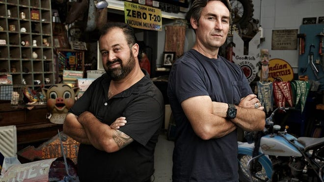 Mike Wolfe, left, and Frank Fritz  of the television show American Pickers are coming to New England this fall.
