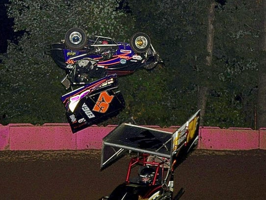 Brandon Edgar, top, goes for a wild ride during the