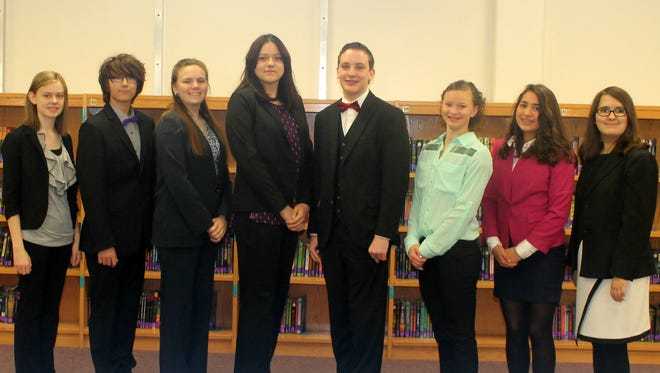 Carlsbad Intermediate School students (l-r) Marlee Hedrick, Dean Helmer, Kaylei Hainze, Caitlin Burke, Caleb McCarty, Tae Tae Willis, Ileana Braddock and Sarah Flores qualified for the BPA National Leadership Conference in May.