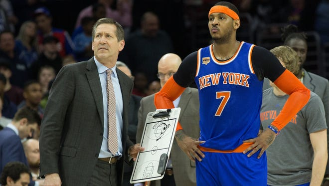 "Coach Jeff Hornacek on the role of Knicks forward Carmelo Anthony: ""He's going to lend a lot to our team. For us, we're assuming he's back."""