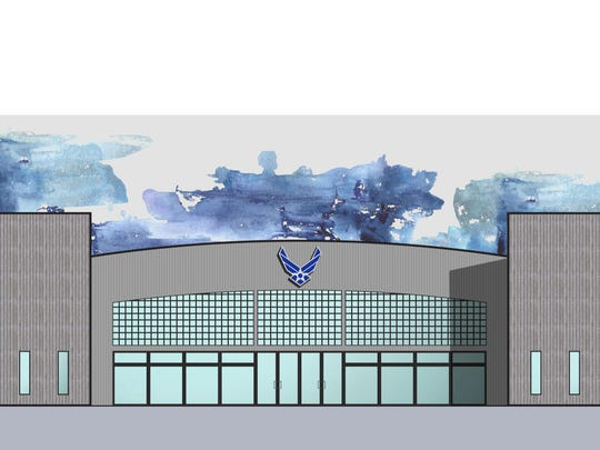 Proposed exterior view of the new JROTC building at Karns High School.