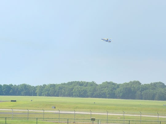 Two Blue Angelsjets  depart from the Smyrna Airport